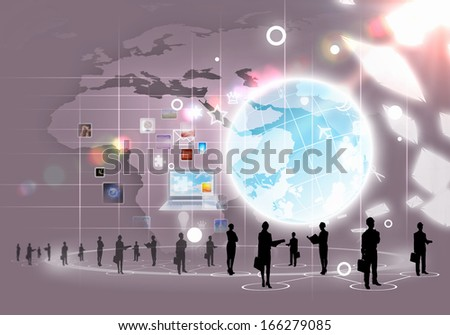 Business people silhouettes against media background with icons