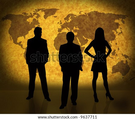 business people silhouettes and world map on paper texture. Ma traced http://www.lib.utexas.edu/maps/world_maps/world_pol02.jpg Their copyright http://www.lib.utexas.edu/maps/faq.html#3.html - stock photo