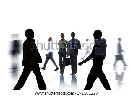 Business People Silhouettes Commuting and Isolated on White