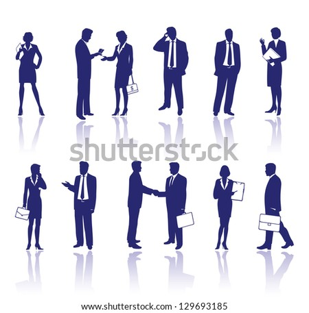 Business people silhouettes isolated on white background - stock photo
