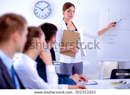 Business people sitting and discussing at business meeting . - stock photo
