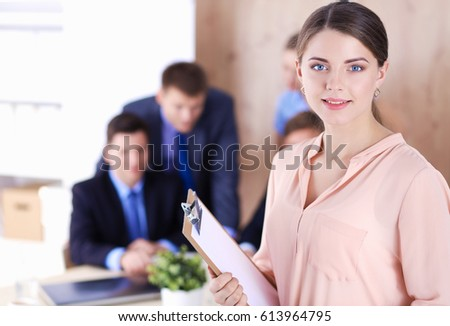 Business people sitting and discussing at meeting  in office. Attractive Female Doctor Front Medical Group Stock Photo 557085679