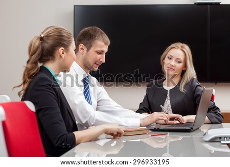 business people sitting in the office - stock photo