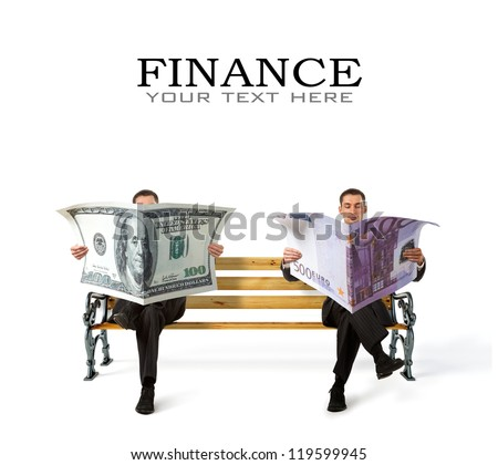 Business People sitting on a bench with currency in hands - stock photo