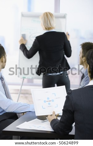 Business people sitting on presentation at office. Businesswoman drawing to white board. Focus on diagram in front. - stock photo