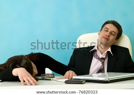 Business people sleep in office - stock photo
