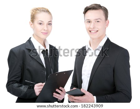 Business people smile, businessman and businesswoman wear. Isolated over white background - stock photo
