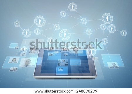 business, people, social network and head hunting concept - pictures of businesspeople over tablet pc computer and blue background - stock photo