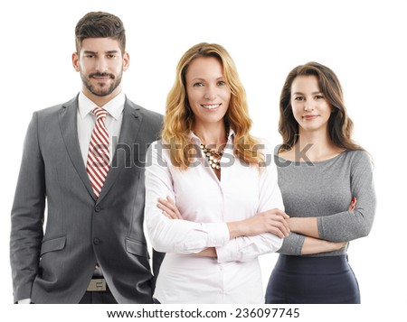 Business people standing against white background.  - stock photo