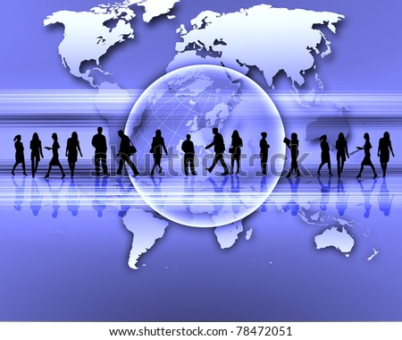 business people standing against world map background