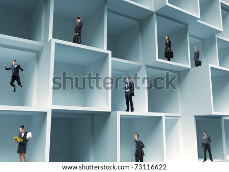 business people standing in cube 3d structure - stock photo