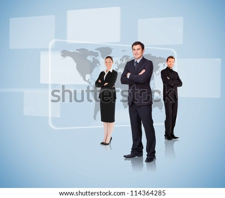 Business people standing in front of a map arms crossed - stock photo