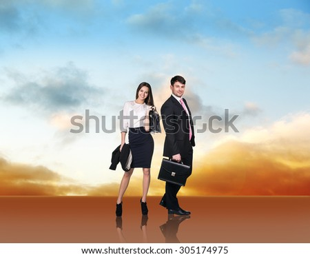 Business people standing in line - stock photo