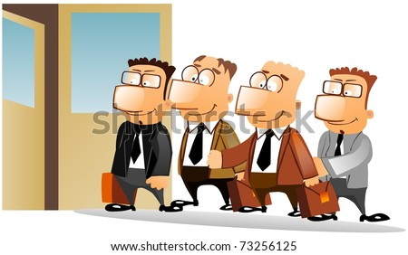 Business people standing in queue. - stock photo