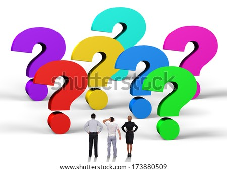 business people standing near a question marks - stock photo