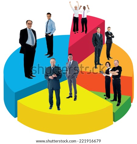 Business people standing on multicolored pie chart - stock photo