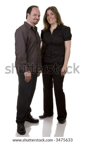 business people standing on white isolated background smiling - stock photo