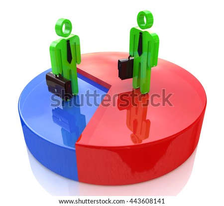 business people standing over pie chart in the design of information related to business and the economy. 3d illustration - stock photo