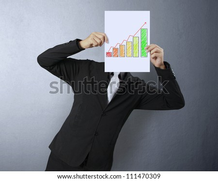 Business people standing with Graph on boards - stock photo