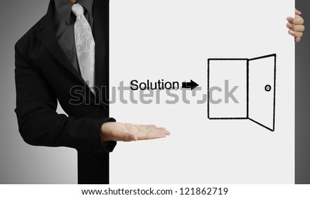 Business people standing with on boards ,drawing Solution - stock photo