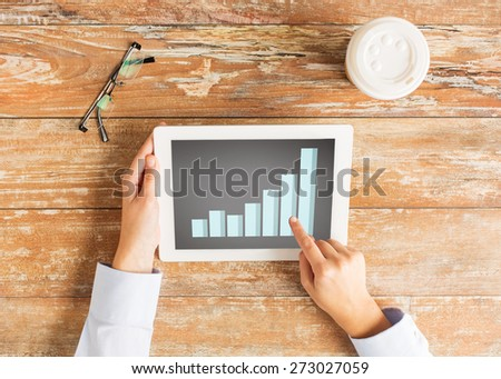business, people, statistics and technology concept - close up of female hands with chart on tablet pc computer screen at table - stock photo