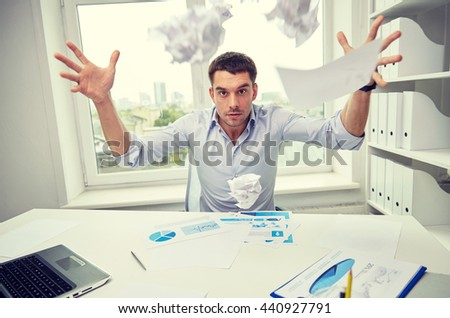 business, people, stress, emotions and fail concept - angry businessman throwing papers in office - stock photo