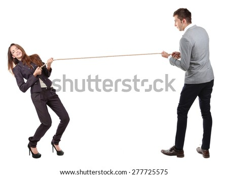 Business people stretching rope isolated on white - stock photo