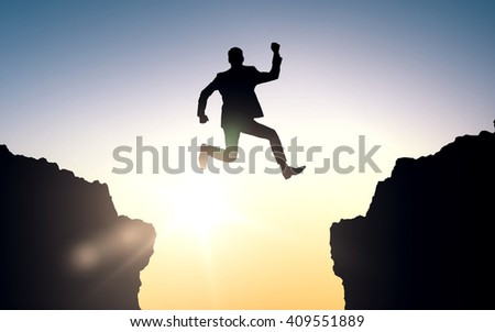 business, people, success, achievement and education concept - happy businessman jumping between two rocks
