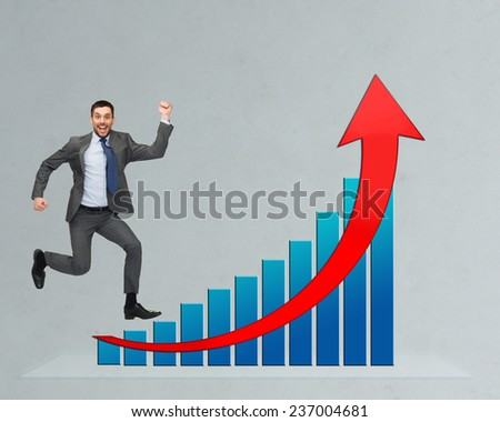 business, people, success, career and development concept - happy businessman jumping over growth chart and gray background - stock photo