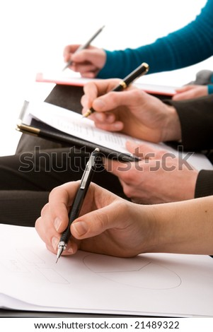 Business people taking notes isolated on white - stock photo