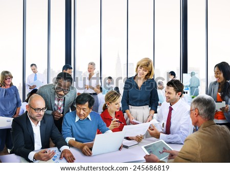 Business People Talking Conversation Communication Interaction Concept - stock photo