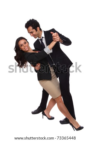 Business people tangoing with their suits on - stock photo