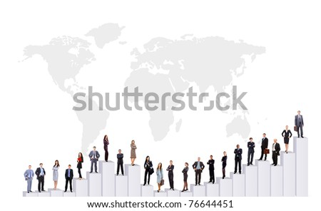 Business people team and diagram. Isolated over white background - stock photo