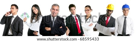 Business people team group in a line row isolated on white background [Photo Illustration]