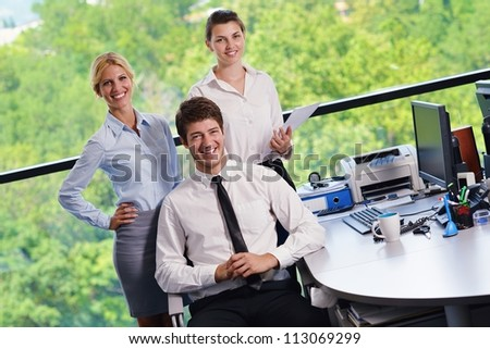 business people  team  group  on a meeting have success and make deal - stock photo