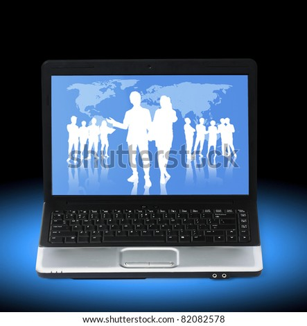business people team on a laptop - stock photo