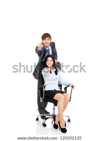 Business people team point finger at you, young businesspeople businessman happy smile, businesswoman sitting in chair, Isolated over white background - stock photo
