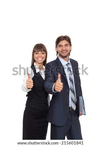 Business people team smile, businessman and businesswoman hold hand with thumb up gesture, businesspeople isolated over white background - stock photo