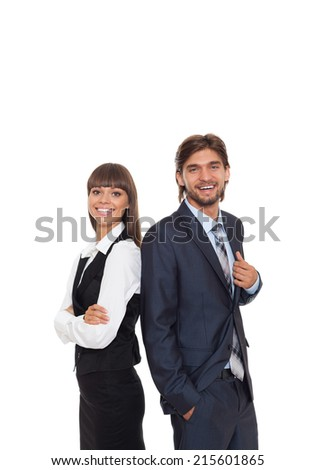 Business people team smile, businessman and businesswoman wear suit over isolated over white background