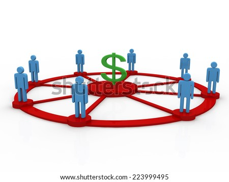 business people team with dollar symbol. teamwork concept 3d