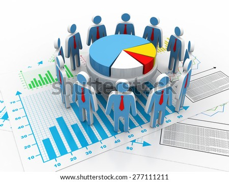 Business people team with pie chart background - stock photo