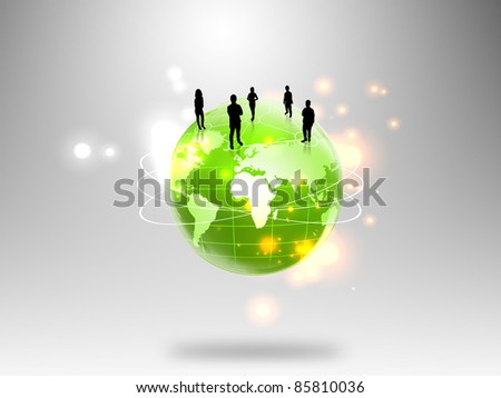 business people team with world - stock photo