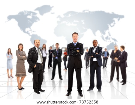 business people team with world map - stock photo