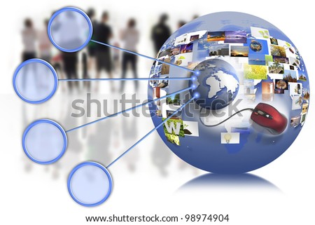 business people team with world map on the internet connection.