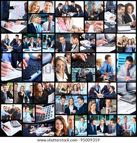 Business people team working in the office. Collage background. - stock photo
