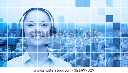 business, people, technology and communication concept - happy asian female helpline operator in headset over city and blue grid background - stock photo