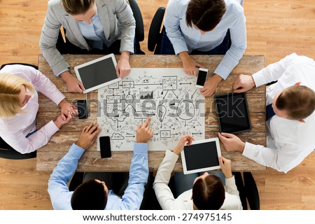 business, people, technology and planning concept - close up of creative team with scheme, smartphones and tablet pc computers sitting at table in office - stock photo