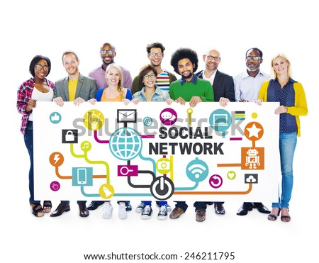 Business People Togetherness Connection Communication Social Network Concept - stock photo