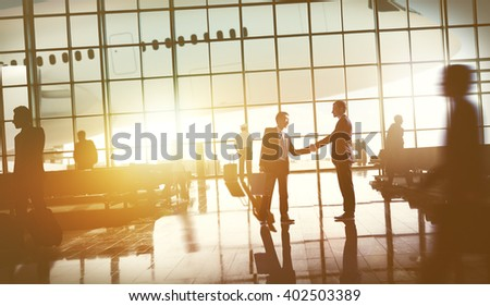 Business People Travel Airplane AIrport Terminal Concept - stock photo