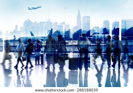 Business People Travel Departure Airport Passenger Terminal Concept - stock photo